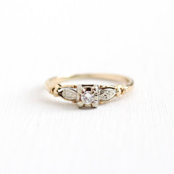 Vintage 14k Yellow & White Gold .08 Carat Diamond Ring - Size 7 1/4 Art Deco Two Tone 1930s 1940s Engagement Bridal Flower Fine Jewelry