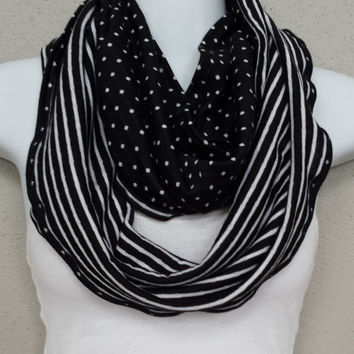 Reversible Scarf Stripes Polka Dots Black White Infinity Scarf Eternity Loop Dots Scarf Striped Scarves Infinity Scarves Warm Scarf