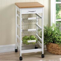 Kitchen Cart | Country White with 3 Slide-out Wire Baskets