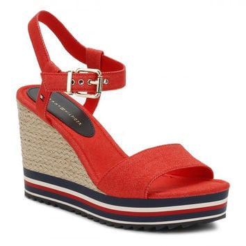 Tommy Hilfiger Womens Fiery Red 1D Textile Wedge Sandals