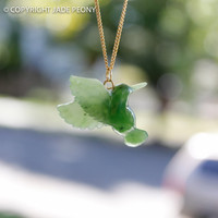 SALE Jade Hummingbird Necklace - Nephrite Jade - Gold -Sterling Silver