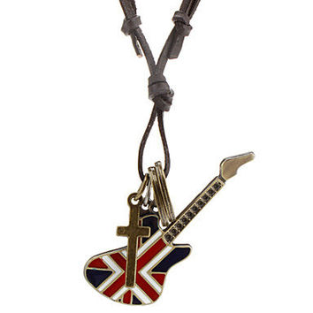 soft leather necklace bronze guitar necklace men's leather long necklace, women's leather necklace friendship gift X021