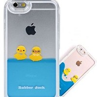 Iphone 5 5S Case , Liquid Floating Rubber Duckies In Blue Water Cute Hard Plastic Case With Cute Packaging Case forApple IPhone 5 5S ( Boys )