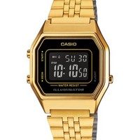 Casio Women's Digital Gold-Tone Stainless Steel Bracelet Watch 34x29mm LA680WGA1BMT | macys.com