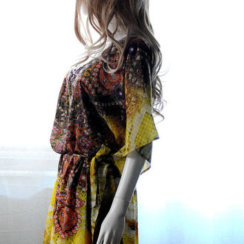 Kaftan dress embellished caftan golden yellow dress for beach or casual wear festival dress boho