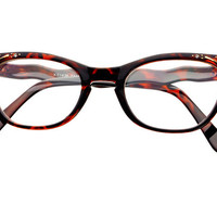 Clear Lens Retro Vintage Cat Eye Glasses Frames Tortoise C542 - Default Title / Medium / Tortoise