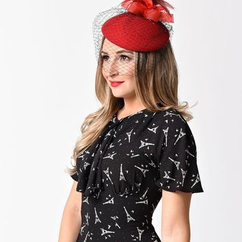 Unique Vintage Red Wool & Feathered Bow Netted Fascinator Hat