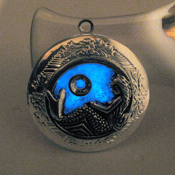 Glow in the Dark Jewelry Mermaid Locket Glow Necklace Stained Glass Aquamarine Birthstone March Birthday Silver Blue Moon Christmas Gift