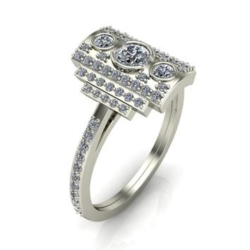 Anastasia Natural Round Brilliant Prong Set Pave Diamonds Cocktail Custom Ring - White Gold, Palladium, or Platinum