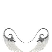 Wing Earrings With White Mother Of Pearl And Black Rhodium Silver by Noor Fares - Moda Operandi