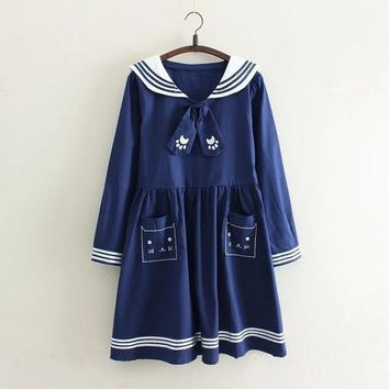 Autumn Cute Japanese Navy Style Sweet Long Sleeve Dress Vestido Sailor Collar Cat Embroidery Mori Girl Lovely Clothing Vestidos