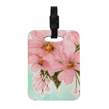 "Christen Treat ""Fumiko"" Pink Green Decorative Luggage Tag"