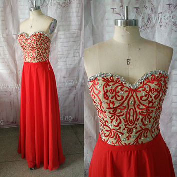 Champagne Embroidery Bodice With Beads Crystals Red Chiffon Skirt Long Elegant Prom Dresses Formal Evening Dress Party Dress ET184