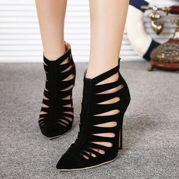 Hollow Out Pointed Toe High Heel Suede Skinny Simple Design Corset = 4814770052