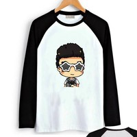 Fanstown BTS bangtan boy black shoulder member cartoon signature long sleeve