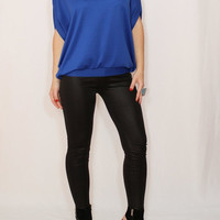 Cobalt blue sweater Loose fit top Batwing blouse Office fashion