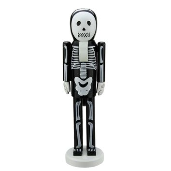 "14"" Black and White Skeleton Decorative Wooden Halloween Nutcracker"