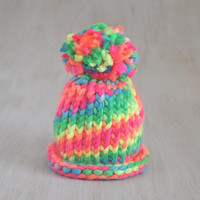 Newborn Hat Baby Hat Beanie Hat Hat Character Pom pom Beanie Winter Hat Knitted Hat Neon Colour Hat Warm Beanie OOAK