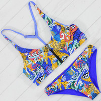 Sexy Women Bikini Set Bandage Bathing Suit Vintage Print Zipper Swimwear