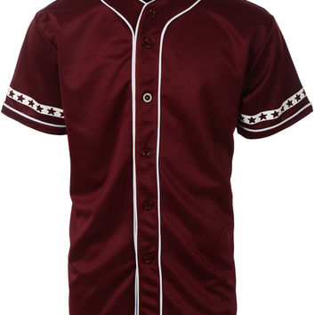 Mens Varsity Short Sleeve Button Down Baseball Jersey with Design Print