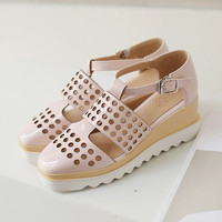 Ankle Wrap Cutout Women Wedges Sandals 6424