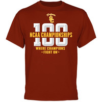 USC Trojans 100 National Titles T-Shirt - Cardinal