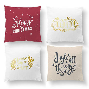 SET of 4 Pillows, Merry Christmas, Ho Ho Ho, Throw Pillow, Gold Pillow, Christmas Pillow, Xmas Pillow, Cushion Cover, Decorative Pillow