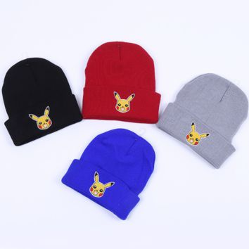 Winter Cute Pikachu Embroidery knitted Beanies Hat