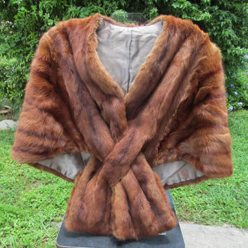 Brown mink stole cape vintage 1950s 60s
