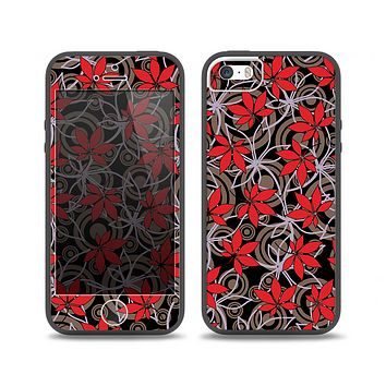 The Red Icon Flowers on Dark Swirl Skin Set for the iPhone 5-5s Skech Glow Case