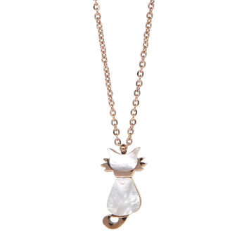 Dear Deer Stainless Rose Tone White Shell Cat Necklace Pendant Necklace