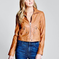 Faline Leather Jacket at Guess