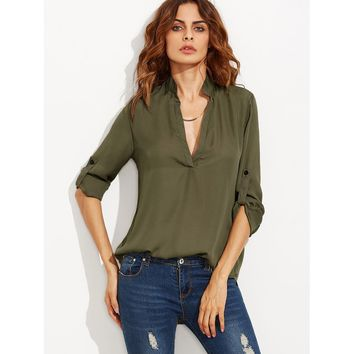 Plunging Neck Rolled-Up Sleeve Blouse Army Green