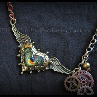 Steam Tell Heart -Winged Heart Charm Necklace from The LieProducingFactory