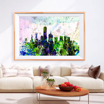 XL Poster Dallas tx City Skyline Art Abstract Print Photo Paper Watercolor paint Wall Decor Home (frame is not included) FREE Shipping USA !
