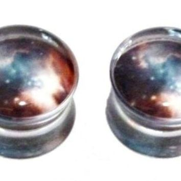 "PAIR-Galaxy 2-Sided Acrylic Double Flare Plugs 16mm/5/8"" Gauge Body Jewelry"
