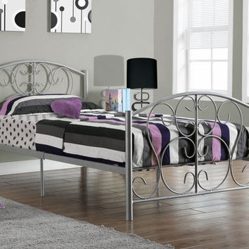 I 2390S Silver Metal Twin Size Bed Frame Only