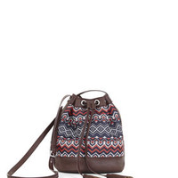 Multicolor BCBG Cora Eastern Woven Border Stripe Mini Bucket Bag