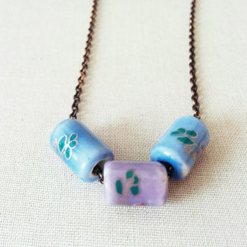 Pastel Necklace; Light Blue Bead Necklace; Pink Bead Necklace; Floral Necklace; Flowers; Ceramic Beads; Lilac; Antique Brass Chain; Purple