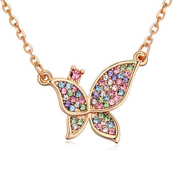 Trendy Gentlewomen necklaces 18k gold plated Butterfly pendant necklace full cz crystal women elegant banquet Jewelry Xmas Gift