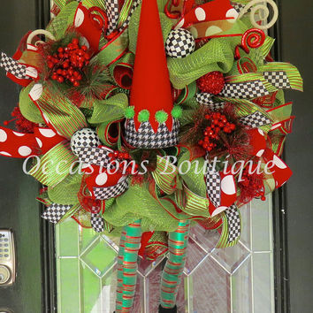 Christmas Wreath, Elf Wreath, Christmas Decoration, Holiday Wreath, Wreath for Door, Door Wreath, Outdoor wreaths, Front door Wreaths
