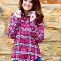 Drop The Tailgate Plaid Hooded Flannel // Red & Navy