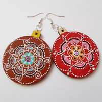 Handpainted Mandala Red Brown Wooden Earrings, Yoga Boho earrings, OOAK Earrings Jewelry, Mantra Meditation Ethnic Zen Jewelry, Gift for her