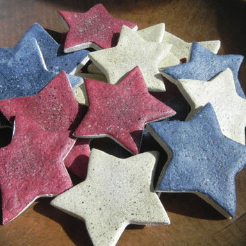 Primitive Red White and Blue Stars Bowlfiller Salt Dough Ornaments Set of 12