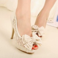 Women Lace Hollow Platform High Heel Shoes Stiletto Peep-toe Bowknot Sandals 1no