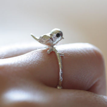 Sterling silver little bird ring, statement ring, silver ring, twig ring, bird ring, ring, jewelry, gift for her, holidays, summer, cute