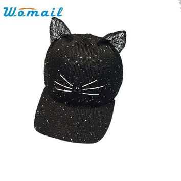 LMFG8W Womail Girls snapback baseball caps Fashion Cartoon Cat Ear Pattern Sequin Hat Cap for women 2017 Drop #20 Gift 1pc