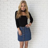 Denim Flare Button Up Skirt