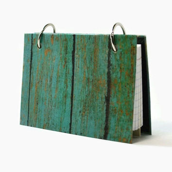 3 x 5 index card laminated binder, turquoise weathered barn wood, journal diary, recipe binder, index card holder with  tab dividers