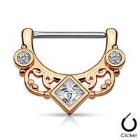 """Pair Body Jewelry 14ga (1.6mm) 1/2""""(12mm) Nipple Bar Clicker Ring or Barbell Square and Round CZ gems Rose Gold over 316l Surgical Steel"""